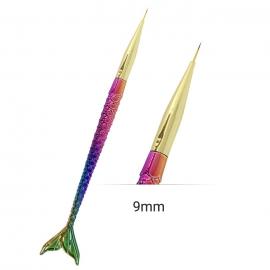 Pincel fino sintético en forma de cola de Sirena pez multicolor para nail art. 9mm