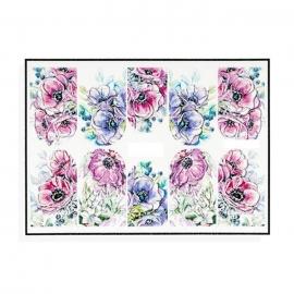 Pegatinas al agua, efecto relieve para decoración de uñas. Flores de color rosa y morado