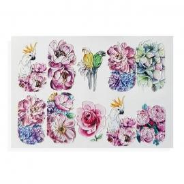 Pegatinas al agua, efecto relieve para decoración de uñas. Flores y papagayo