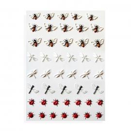 Pegatinas al agua, efecto relieve para decoración de uñas. Mariquitas, abejas y libélulas