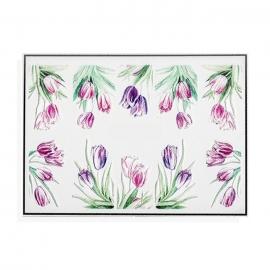 Pegatinas al agua para decoración de uñas. Tulipanes de color rosa y morado