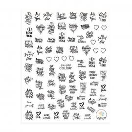 Pegatinas para decoración de uñas con frases en blanco y negro