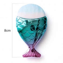 Cepillo-brocha de pelo sintético para quitar polvo de uñas en forma de cola de pez. Color: azul fucsia