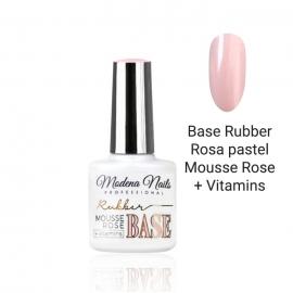 Base Rubber Rosa pastel Mousse Rose + Vitaminas. Modena Nails. 7,3ml