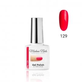 Esmalte semipermanente Modena Nails. 7,3ml. Color: rojo neon. Número: 129