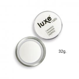 Polvo acrílico de construcción Luxe Nails. Color: blanco. 32g.