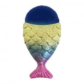 Cepillo-brocha Cola de pez para nail-art. Color: dorado azul rosa
