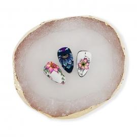 Expositor efecto piedra para tips nail-art y paleta para geles esmaltes semipermanentes y pinturas. Color: blanco