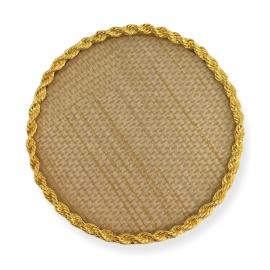 Expositor para tips decorados. Fondo con textura y marco dorado