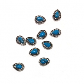Decoración 3d para uñas nail-art. Piedra marmol azul, forma de gota, con marco metálico