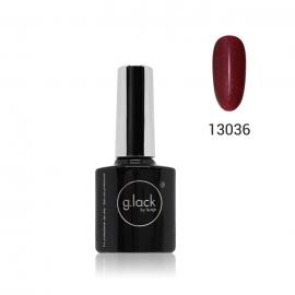 Esmalte semipermanente G. Lack Luxe Nails. Color: rojo cereza purpurina fina. 8ml.